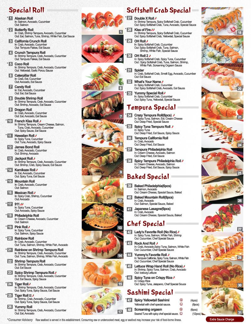Menu de sushi imagui for Akina japanese cuisine menu
